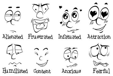 Many facial expressions of human illustration