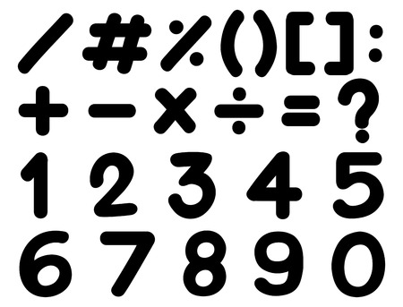 Font design for numbers and signs in black illustration Illustration