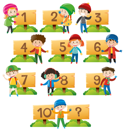 Children and numbers on wooden board illustration