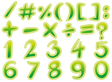 Math signs and numbers in green illustration