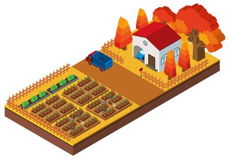 3D design for farm scene with crops and house illustration Illustration