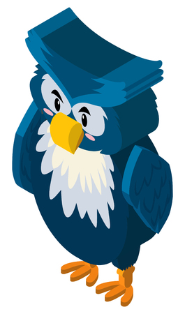 3D design for owl with blue feather illustration