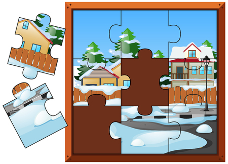 Jigsaw puzzle game with houses in winter illustration