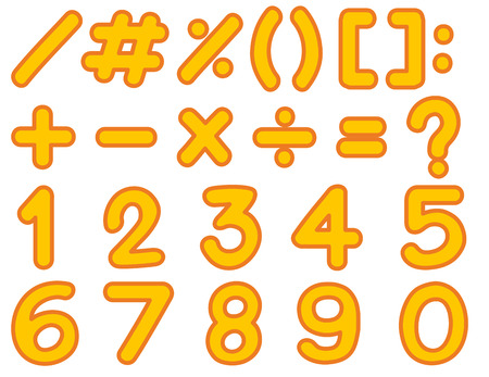 Numbers and signs template in yellow color illustration Illustration