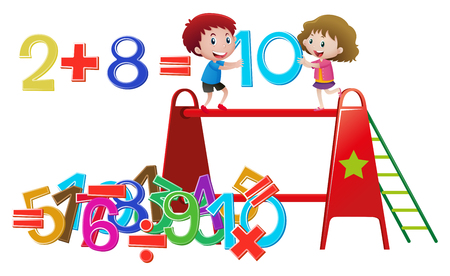 Boy and girl solving math problem illustration Illustration