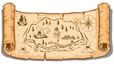 Treasure map on roll paper illustration Illustration