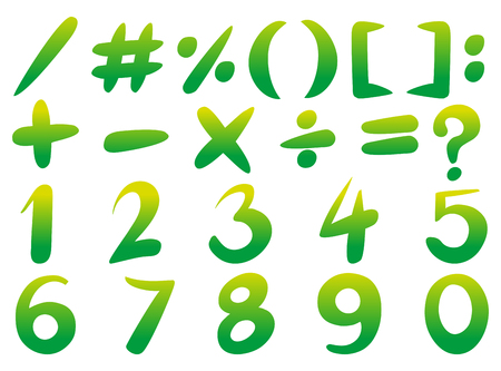 Numbers and signs in green color illustration