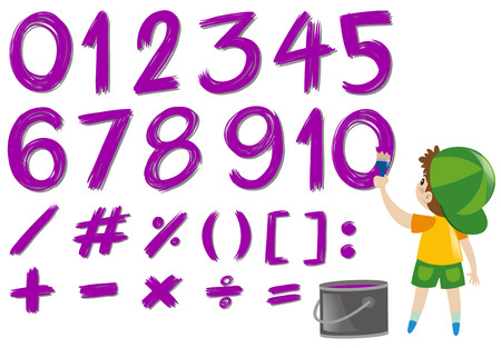 Numbers and math signs in purple color illustration Illustration