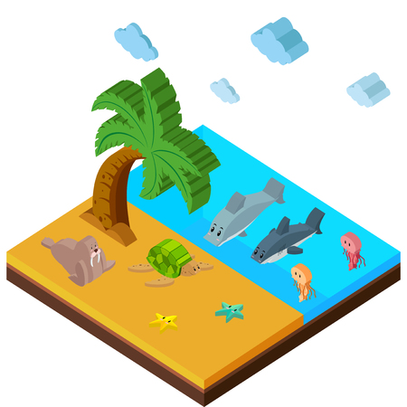 3D design for beach scene with lots of animals illustration