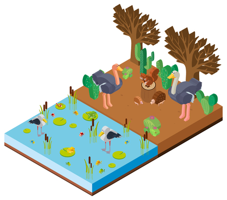 Scene with animals by the river in 3D design illustration