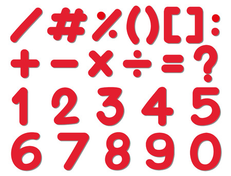 Font design for numbers and signs in red color illustration