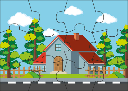 Jigsaw puzzle game with house on the road illustration