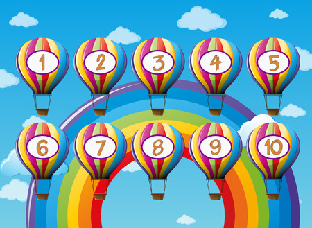 Number one to ten on balloons illustration