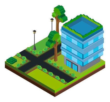 3D design for building on the road illustration Illustration