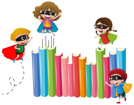 niños actuando: Kids in hero costume and many books illustration Vectores