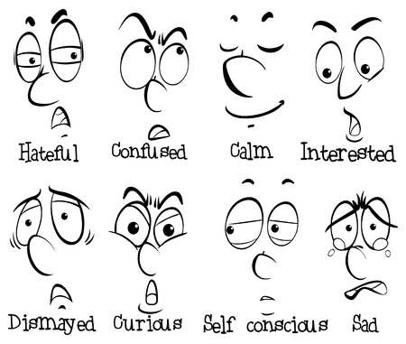 Eight human faces with different emotions illustration