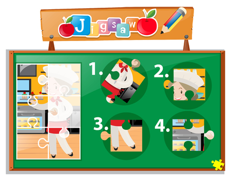 numbers clipart: Jigsaw pieces of chef in kitchen illustration Illustration