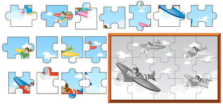 Jigsaw puzzle game with airplanes in sky illustration