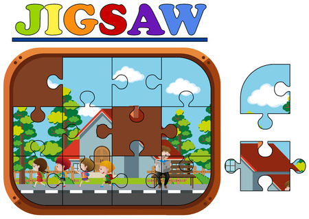 Jigsaw puzzle game with kids running illustration