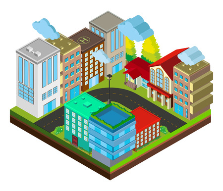 3D design for city scene with buildings illustration