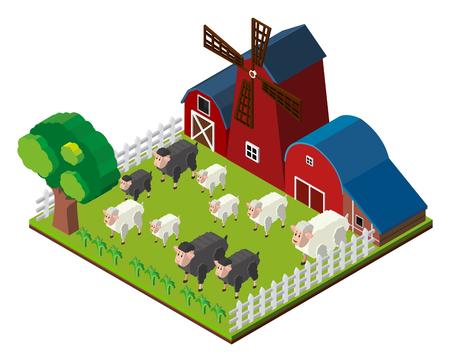 Sheeps on the farm in 3D design illustration Illustration