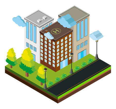 3D design for three buildings on road illustration