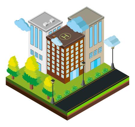 Design 3D für drei Gebäude auf Straßenillustration