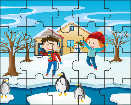 Jigsaw puzzle game with kids in winter illustration Illustration