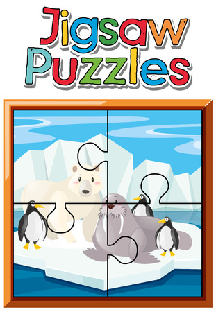 Jigsaw puzzle pieces of animals in northpole illustration
