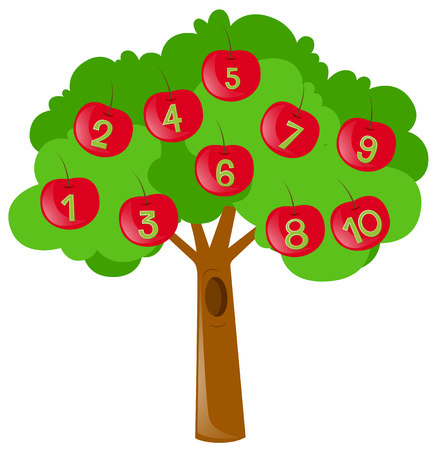 numbers clipart: Counting numbers with red apples on tree illustration