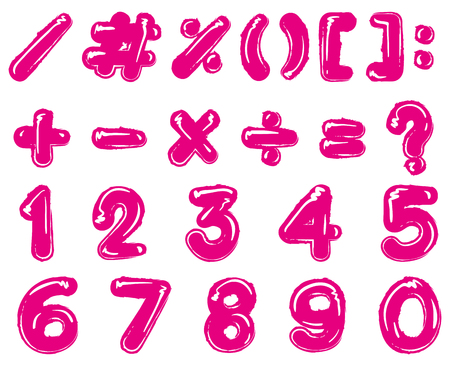 Pink font design for numbers and signs illustration Illustration