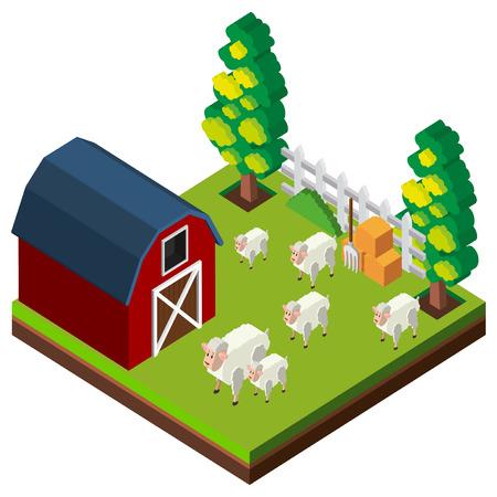 Farm scene with sheeps in 3D design illustration