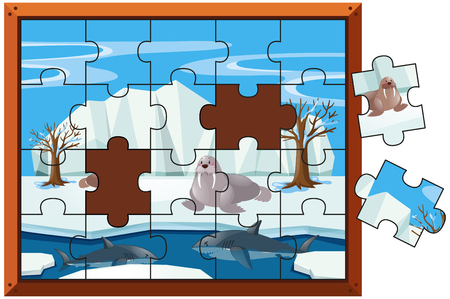 Jigsaw puzzle pieces of walrus and sharks illustration
