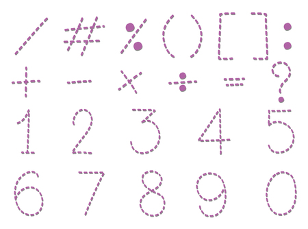 Numbers and signs in dashlines illustration