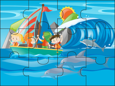 Jigsaw puzzle game with kids sailing at sea illustration Illustration