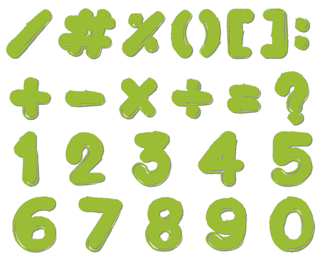 Font design for numbers and signs in green color illustration