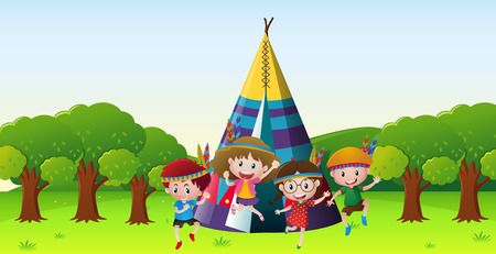 Children playing red indians in park illustration