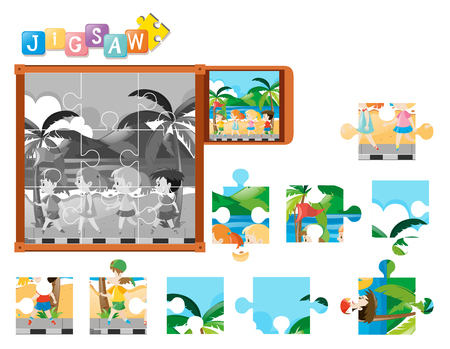 Jigsaw puzzle pieces of kids walking illustration
