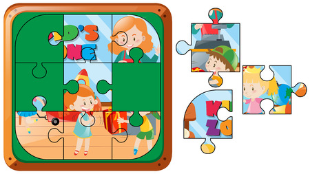 Jigsaw puzzle game with kids in room illustration