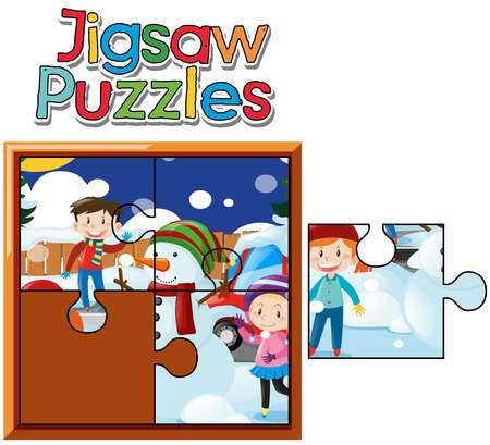 Jigsaw puzzle game with kids in snow illustration Illustration