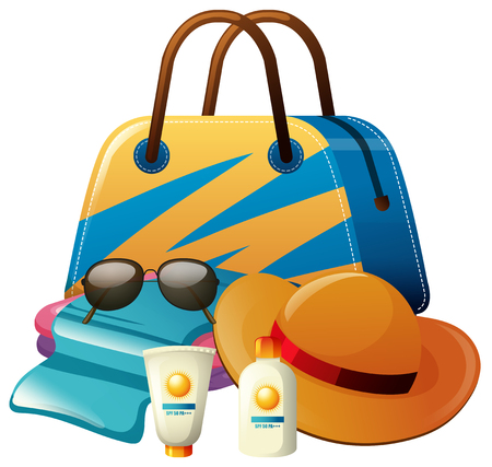 Summer set with bag with sunscreen and hat illustration Illustration