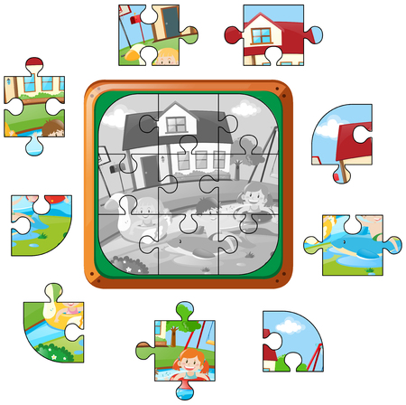 swimming pool home: Jigsaw puzzle game with kids in pool illustration