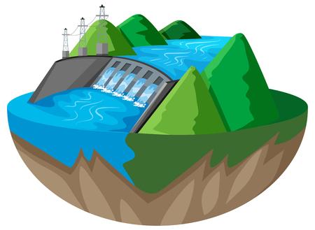 3D design for dam in the mountain illustration Illustration