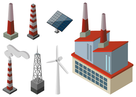 Power towers and wind turbines illustration