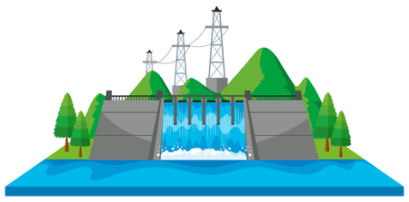 Scene with dam and electric towers in 3D design illustration Illustration