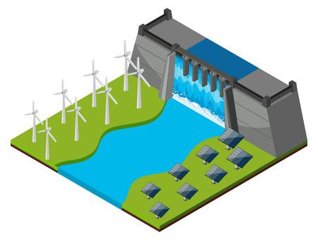 ウォーター ゲートと風力タービンの図とダムします。