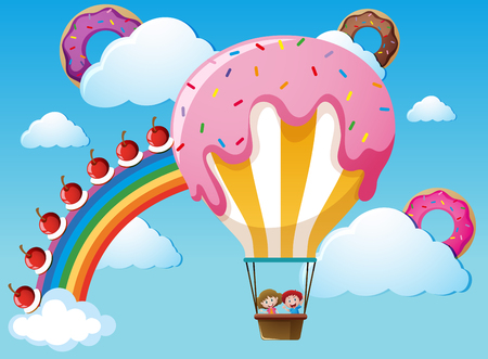 Scene with rainbow and candy balloon illustration