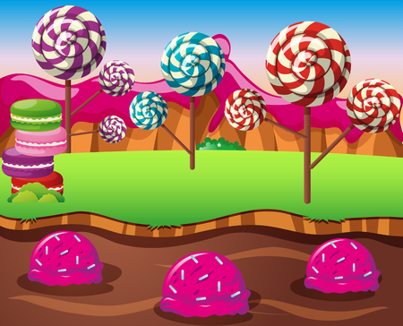 Scene with lolipops field and icecream river illustration