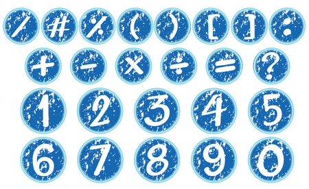Numbers and signs on blue badges illustration