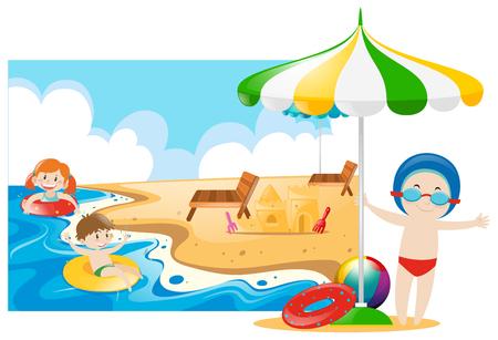 boy swim: Children swimming in the sea illustration Illustration